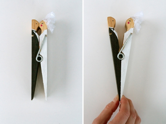 diy, diy mondays, kissing clothes pin, diy wedding