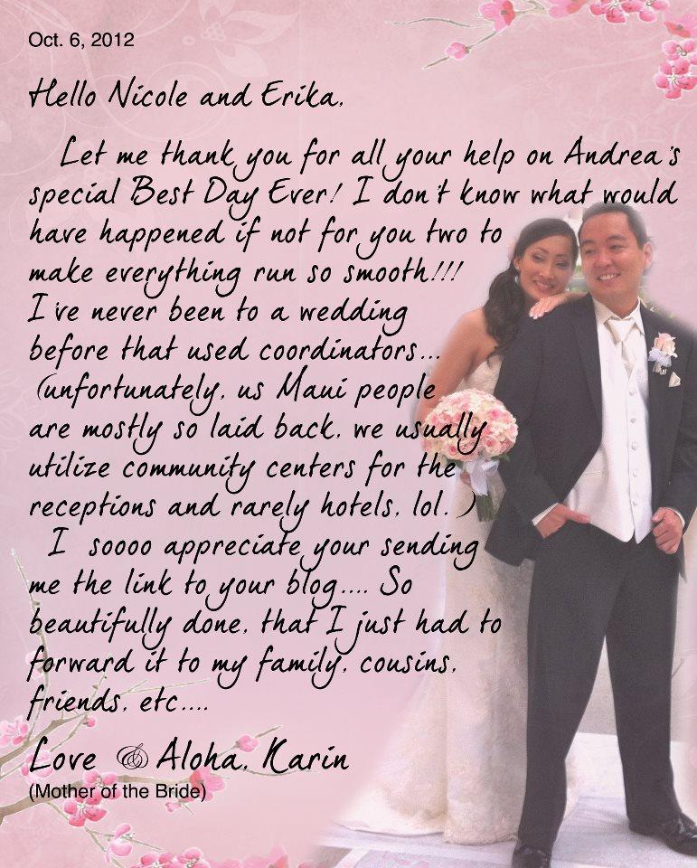 hawaii wedding hawaii wedding planner mother of the bride wedding letter