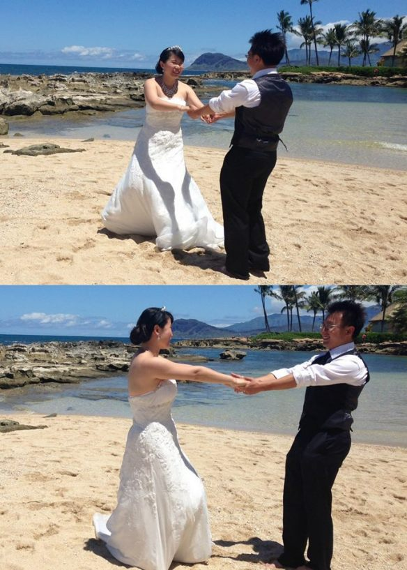 hawaii wedding, oahu wedding, hawaii beach wedding, oahu beach wedding, minyu and tian, best day ever hawaii