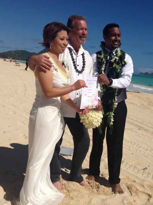 Destination Beach Wedding, destination wedding, hawaii beach wedding, oahu beach wedding, Sean + Angel, Sean + Angel's Best Day Ever, Waimanalo Bay Beach, waimanalo beach wedding
