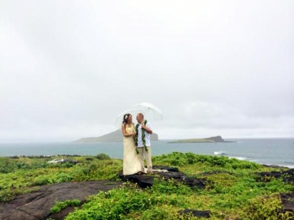 hawaii beach wedding, Makapuu Beach Wedding, Mike and Amanda Wedding, oahu beach wedding, Rainy Hawaii Wedding
